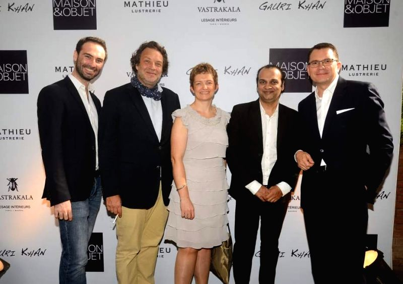 Alexis De Ducla, Jean-Francios Lesage, Elodie Renaud, Raj Anand and Frederic Bougeard during the launch of Gauri`s private workspace `Gauri Khan` at Bandra in Mumbai on, April 29, 2015.