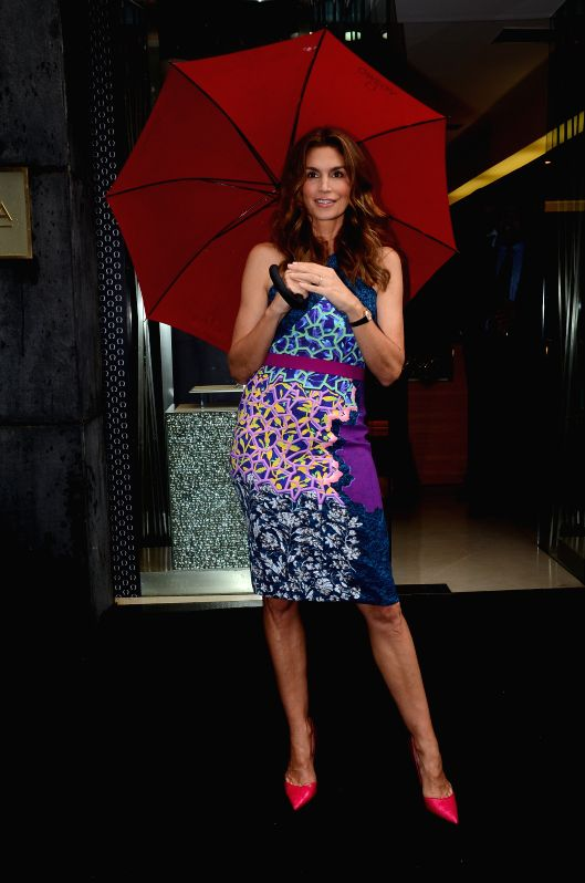 American model Cindy Crawford during the launch of a product in MumbaiCindy Crawford during the launch of the Omega Constellation Pluma collection in Mumbai on June 18, 2015.