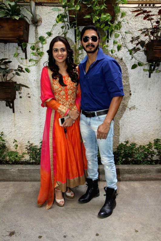 Amruta Khanvelkar and Shreyas Talpade during the first look and theatrical trailer launch of Shreyas Talpade starrer `Baji` in Mumbai, on Dec 9, 2014.