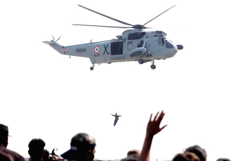 An air show being organised at INS Shikra for differently-abled children during Navy Week 2014 celebrations in Mumbai on Nov. 24, 2014.