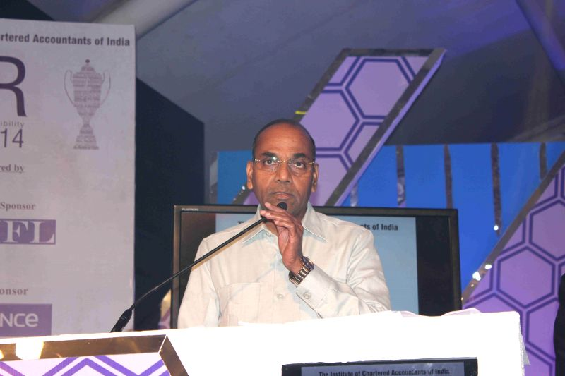 Anant Geete, Minister of Heavy Industries and Public Enterprises of India ,during the ICAI CSR Awards 2014 in Mumbai, on Feb 5, 2015.
