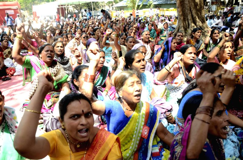 Anganwadi workers stage a demonstration to press for their demands at Azad Maidan in Mumbai, on March 9, 2015.