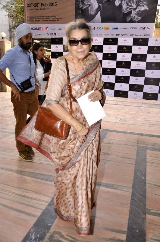 Artist Lalita Lajmi during the inauguration of a workshop organized by the Film Heritage Foundation entitled `Film Preservation and Restoration School India 2015` in Mumbai on Feb 22, 2015. - Lalita Lajmi