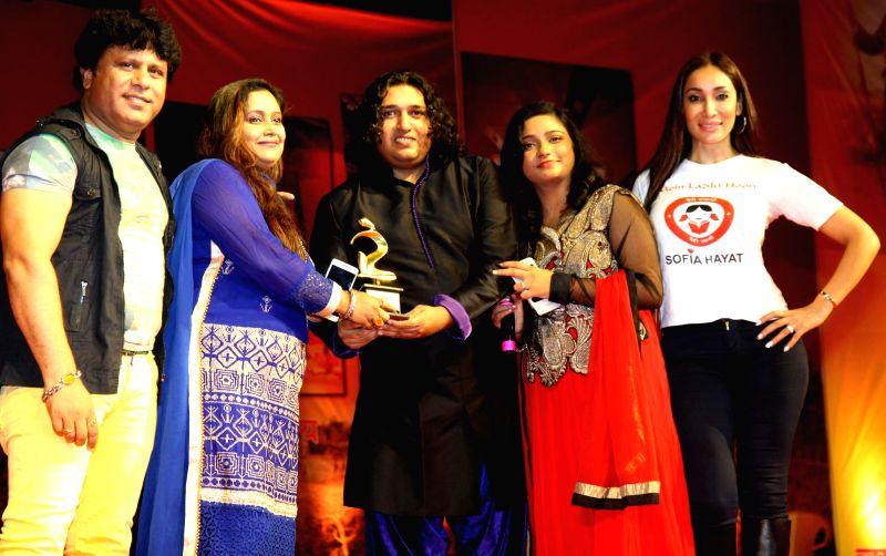 Arvind Waghela, June, Shabab Sabri, Swati Sharma and Sofia Hayat during the Rajasthan Day celebration in Mumbai on March 30, 2015. - Swati Sharma