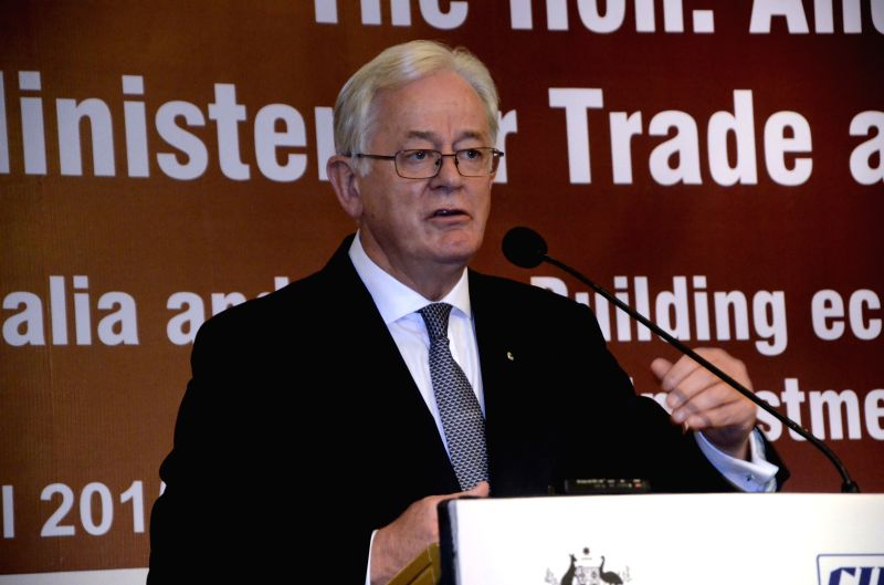 Australian Minister for Trade and Investment Andrew Robb AO addresses during a CII programme in Mumbai, on April 22, 2015.