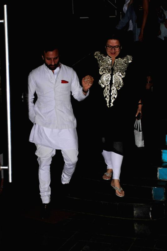 Babita Kapoor along with her son-in-law Saif Ali Khan during her birthday party in Mumbai, on April 19, 2015. - Saif Ali Khan
