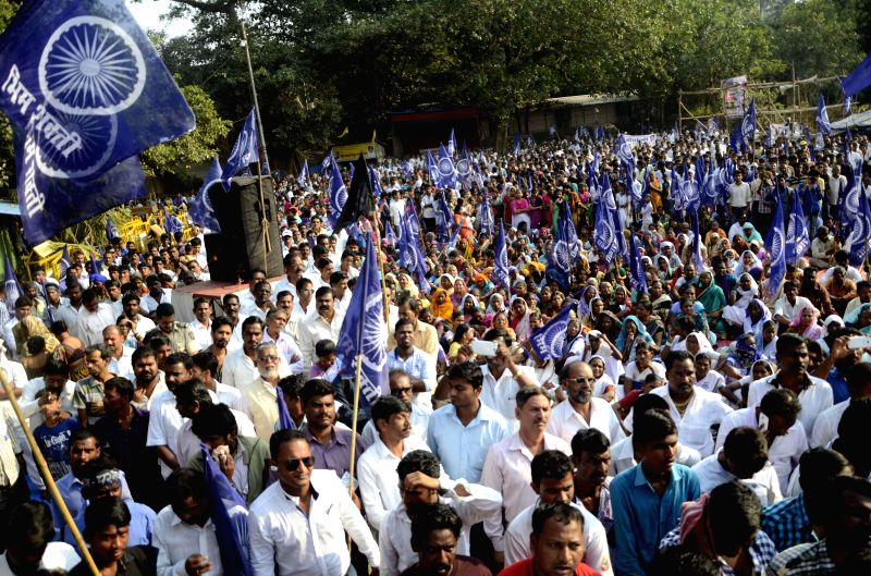 Bhim Shakti activists stage a demonstration against the murder of a Dalit family of three in Maharashtra's Ahmednagar district; in Mumbai, on Nov 25, 2014.