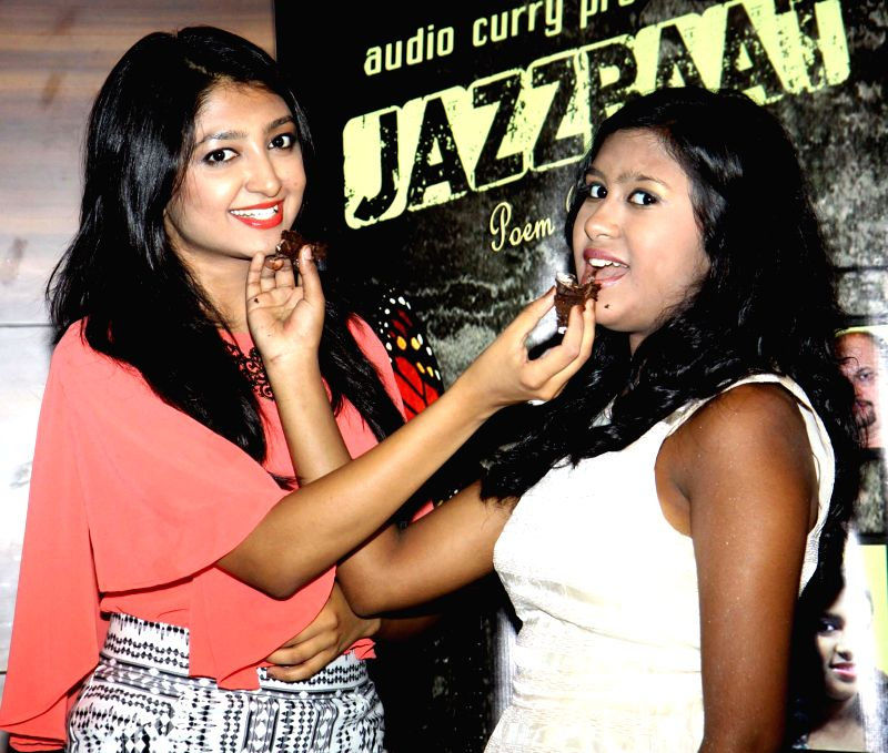 Bhoomi trivedi and Sanchiti during the launch of Jazzbaat, a music album in Mumbai, on April 22, 2015.
