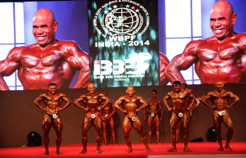 Bodybuilders during the 6th World Bodybuilding and Physique Sports Championship 2014 at Goregaon in Mumbai on Dec 7, 2014.
