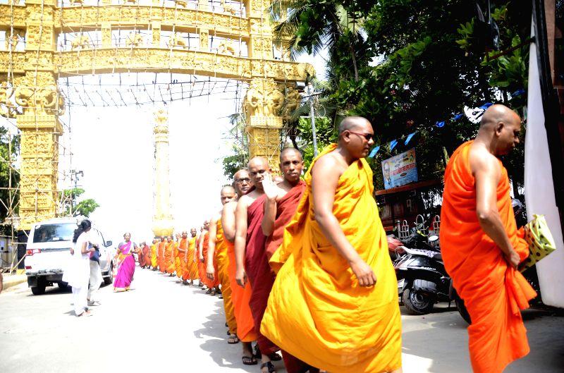 Buddhist monks arrive at Chaitya Bhoomi ahead of Ambedkar Jayanti  in Mumbai, on April 8, 2015.