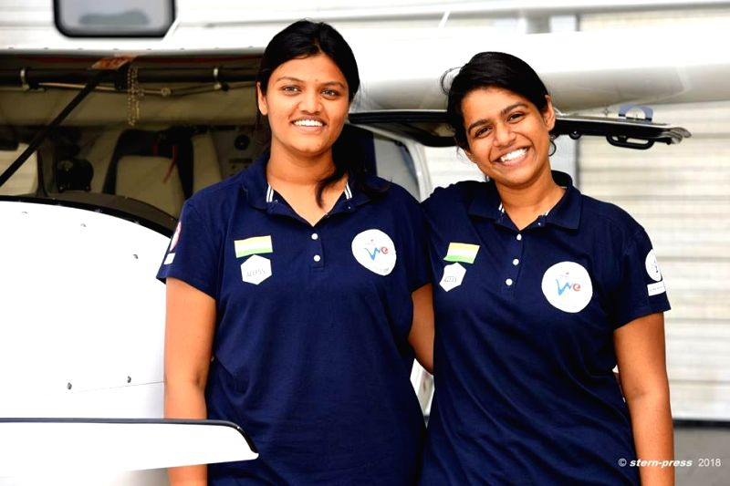Captain Aarohi Pandit and her friend Keithair Misquitta on their Phase I all-women circumnavigation flight from India to UK