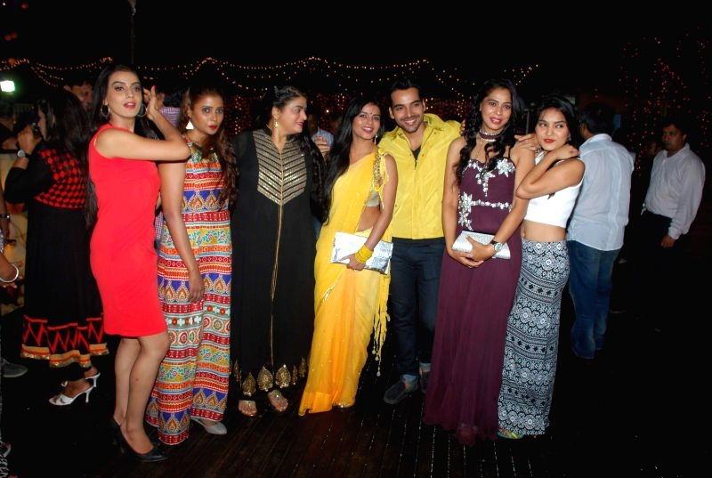 Cast of Service Wali Bahu during the launch party of Zee TV new show Service Wali Bahu in Mumbai on Feb 23, 2015.