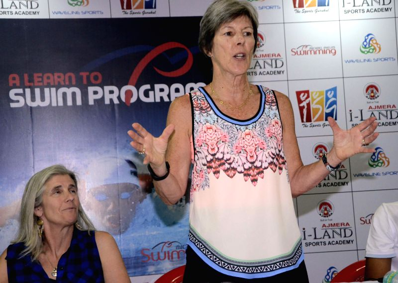 Cathy Bennett, the childhood coach of Michael Phelps during the announcement of `Michael Phelps swimming programme` which will be launched on 11 April 2015, in Mumbai on April 4, 2015.