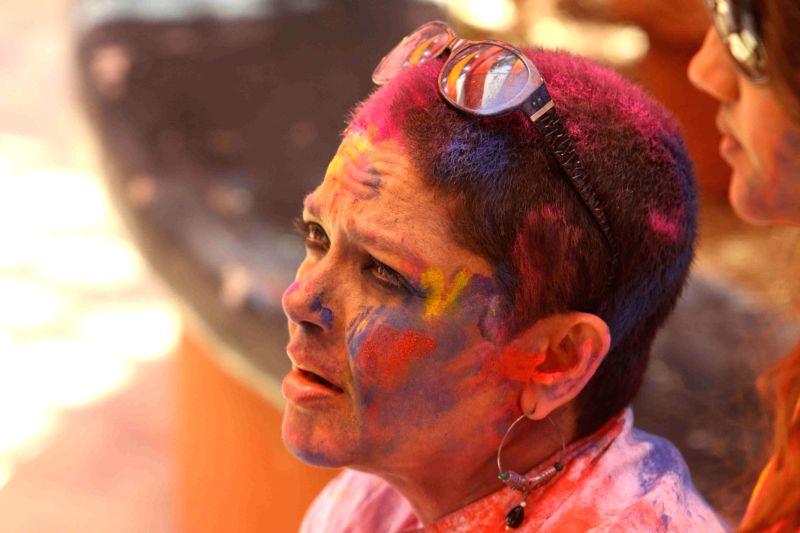 Celebs celebrate Holi festival at Shabana Azmi and Javed Akhtar`s residence in Mumbai, on March 6, 2015.