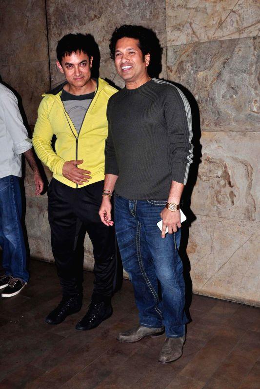 Celebs during the screening of film PK in Mumbai, on Dec. 16, 2014.