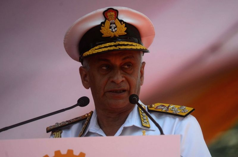 Mumbai: Chief of the Naval Staff Admiral Sunil Lamba addresses at the launching ceremony of the third ship of Project 15B, Guided Missile Destroyer 'Imphal', at Mazagon Dock Shipbuilders Limited in Mumbai, on April 20, 2019. (Photo: IANS)
