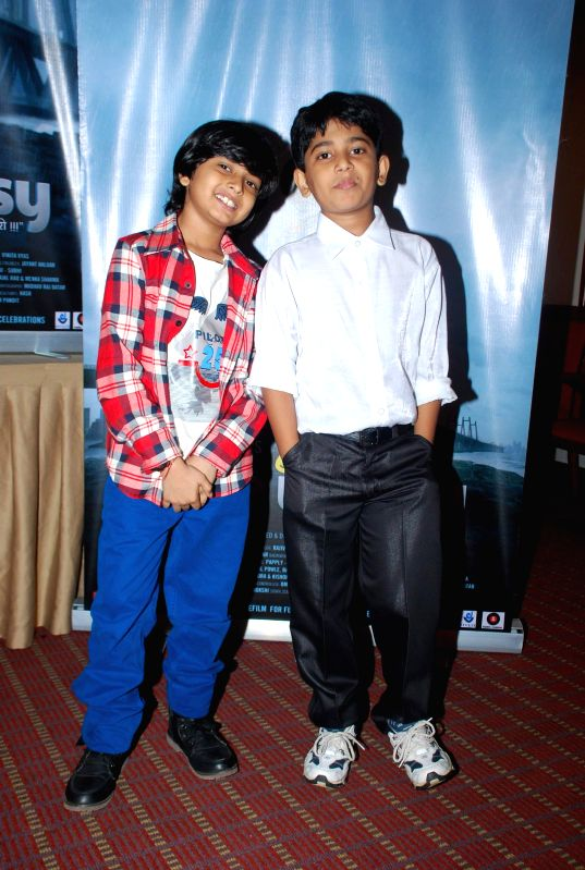 Child actors Prasad Reddy and Yash Ghanekar during the media interaction of film Take it Easy in Mumbai, on Dec. 24, 2014. - Prasad Reddy and Yash Ghanekar