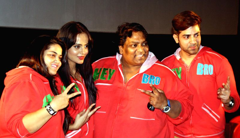 Choreographer Ganesh Acharya with actors Maninder Singh and Nupur Sharma during promotion of their upcoming film `Hey Bro` in Mumbai, on Feb 8, 2015. - Maninder Singh and Nupur Sharma