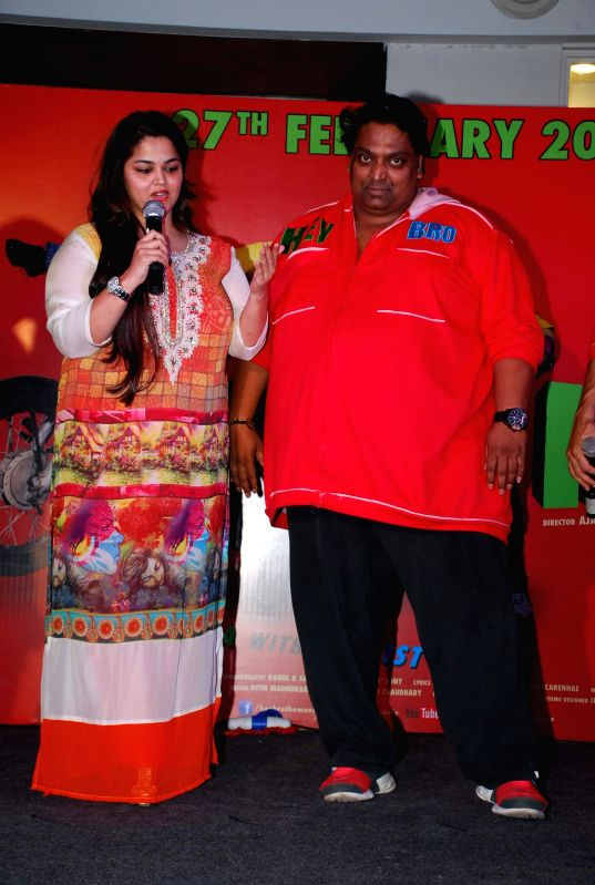 Choreographer Ganesh Acharya with wife Vidhi Acharya during the promotion of his film Hey Bro in Mumbai, on Feb 14, 2015.