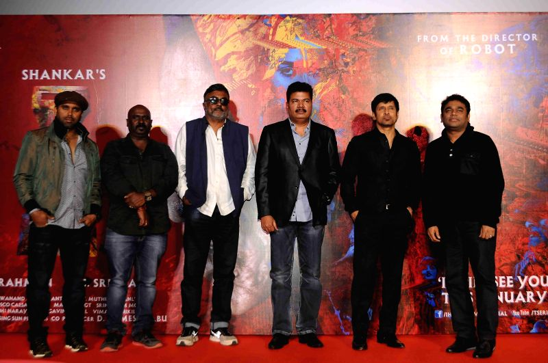Cinematographer and filmmaker P. C. Sreeram, music director A R Rehman, filmmaker Shanker and actor Vikram during the press conference and trailer launch of forthcoming Tamil film `I` in ... - Vikram and A R Rehman