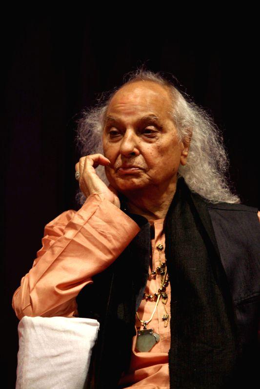 Classical singer Pandit Jasraj during the launch of Dr.Veena Mundhra's Shri Hari Vani Gita devotional album and book in Mumbai on Feb 22, 2015.