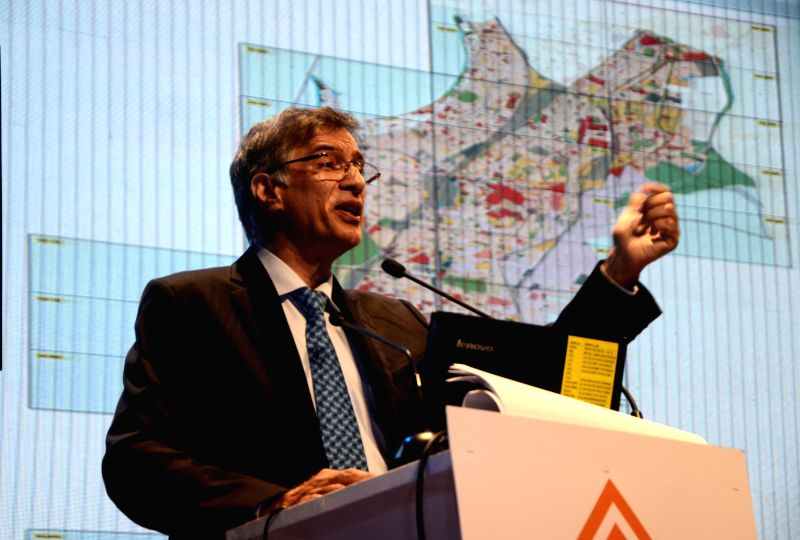 Co Founder and MD, Hiranandani Group, Niranjan Hiranandani addresses during the inauguration of NAREDCO (National Real Estate Development Council) conclave at the NCPA in Mumbai, on April 22, ...