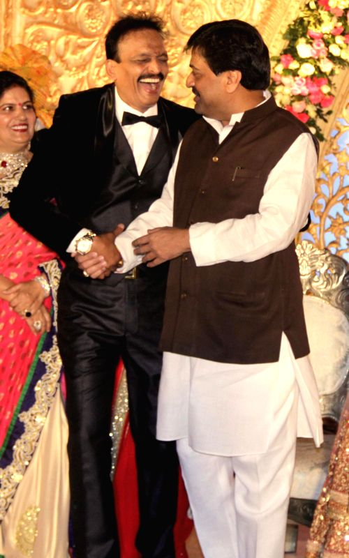 Congress Leader Ashok Chavan during the wedding reception of Congress leader Bhai Jagtap`s daughter, designer Manali Jagtap Shoor and Vicky Shoor in Mumbai, on Feb 11, 2015.