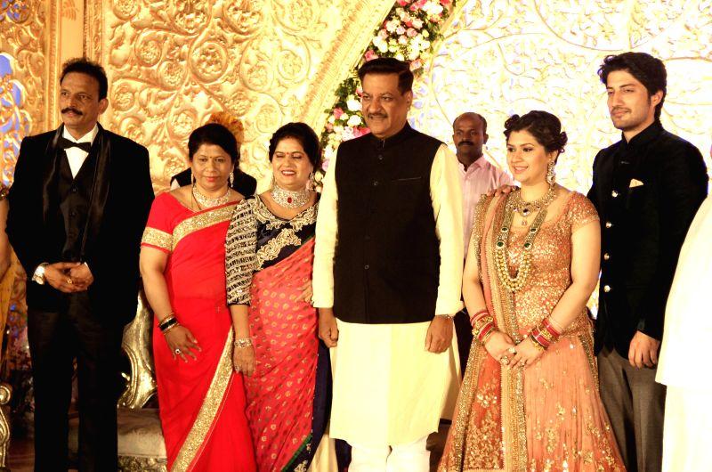 Congress Leader Prithyraj Chavan during the wedding reception of Congress leader Bhai Jagtap`s daughter, designer Manali Jagtap Shoor and Vicky Shoor in Mumbai, on Feb 11, 2015.