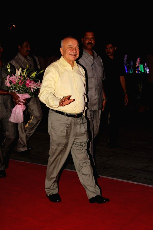 Congress leader Sushilkumar Shinde during Shatrugan Sinha's son Kush wedding reception in Mumbai, on Jan. 19, 2015. - Shatrugan Sinha