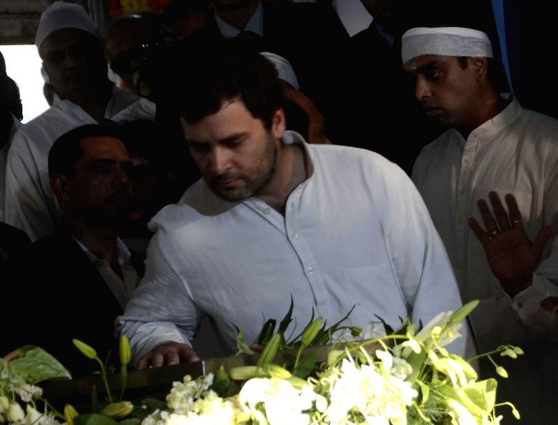 Congress vice president Rahul Gandhi pays his last respect to veteran Congress leader and former union minister Murli Deora, who passed away at the age of  77 following a brief illness in ... - Rahul Gandhi