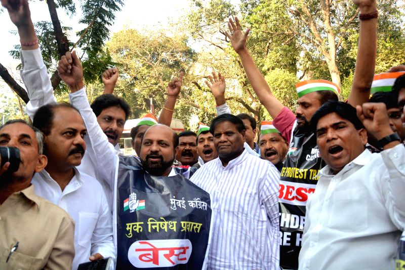Congress workers protest against fare hike of BEST bus service in Mumbai on Feb. 3, 2015.