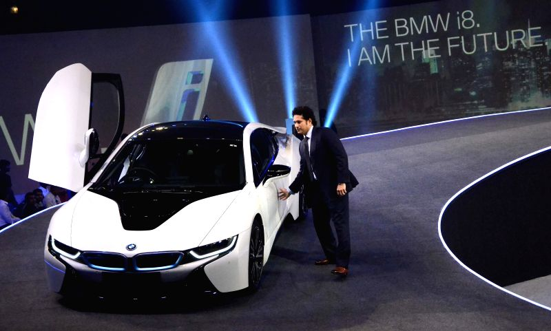 Cricket legend Sachin Tendulkar at the launch of the new edition of BMW i8 hybrid sports car in Mumbai on Feb 18, 2015.