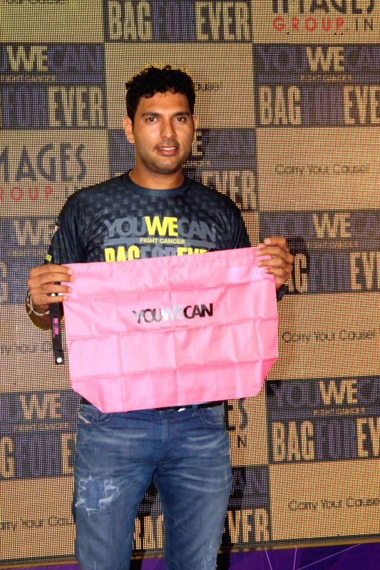 Cricketer Yuvraj Singh launches You We Can Fight Cancer, a BagForever initiative in Mumbai, on March 18, 2015.