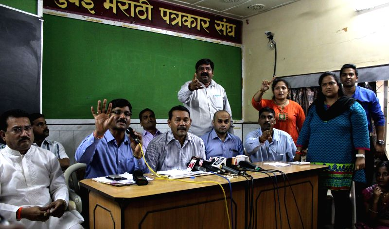 Mumbai Dahi handi organisers address a press conference in Mumbai on Aug 12, 2014.