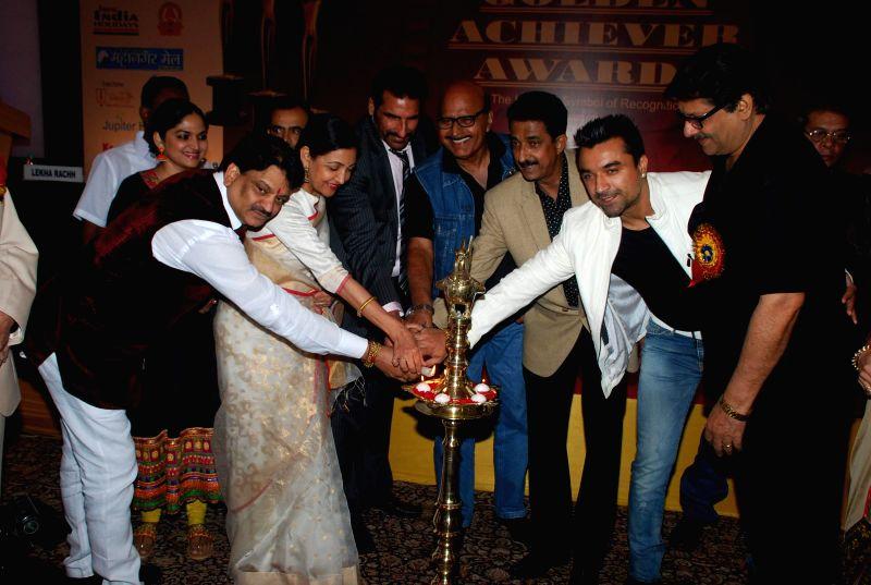 Deepti Naval and Ajaz Khan during Golden Achiever Awards in Mumbai on Jan 9, 2015. - Ajaz Khan