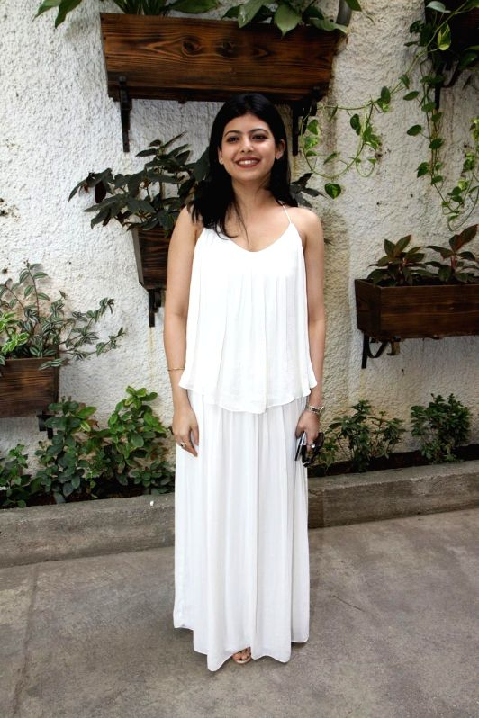 Deepti Talpade during the first look and theatrical trailer launch of Shreyas Talpade starrer `Baji` in Mumbai, on Dec 9, 2014.