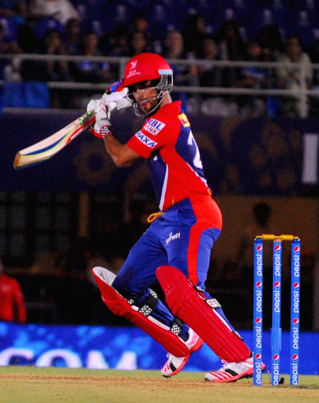 Delhi Daredevils batsman JP Duminy in action during an IPL-2015 match between Rajasthan Royals  and Delhi Daredevils at the Brabourne Stadium in Mumbai, on May 3, 2015.