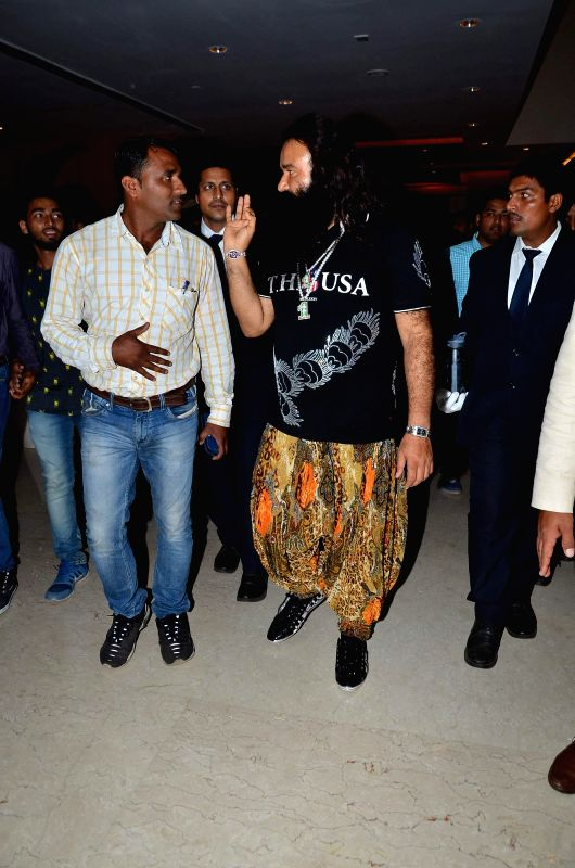 Dera Sacha Sauda spiritual head Gurmeet Ram Rahim Singh during the promotion of his film MSG: The Messenger of God in Mumbai, on Jan. 19, 2015.