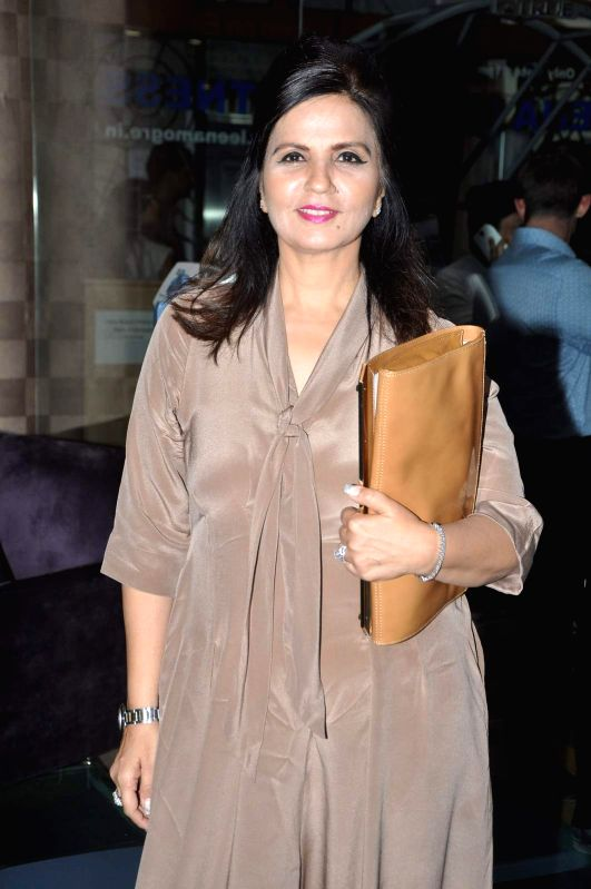 Designer Neeta Lulla during the book launch of Fitness expert Leena Mogre `Total Fitness`, in Mumbai, on April 30, 2015.