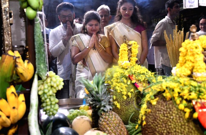 Mumbai: Devotees offer prayers at Asthika Samaj temple on Malayalam new year - Vishu, in Mumbai. (File Photo: IANS)