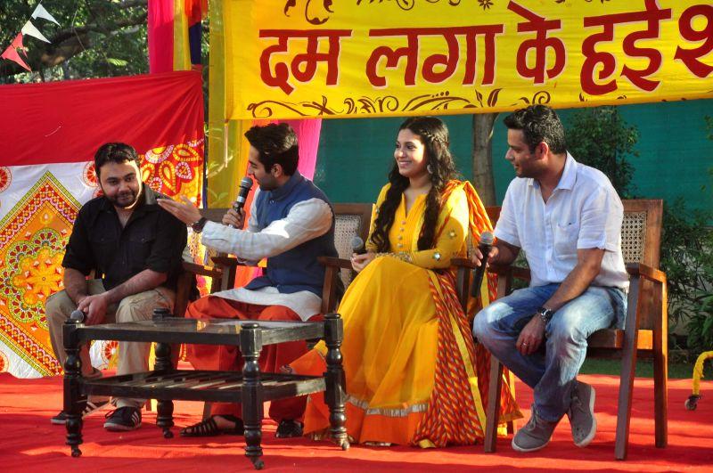 Director Maneesh Sharma, actors Ayushmann Khurrana and Bhumi Pednekar and director Sharat Katariya during the Holi celebration with team of film Dum Laga Ke Haisha in Mumbai on March 5, 2015. - Ayushmann Khurrana, Bhumi Pednekar and Maneesh Sharma
