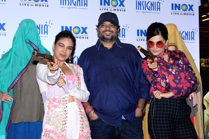 "Mumbai: Director Tushar Hiranandani with actors Bhumi Pednekar and Taapsee Pannu at the trailer launch of their upcoming film ""Saand Ki Aankh"" in Mumbai on Sep 23, 2019."
