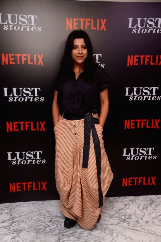": Mumbai: Director Zoya Akhtar at the special screening of Netflix show titled ""Lust Stories"" in Mumbai on June 13, 2018. (Photo: IANS)."