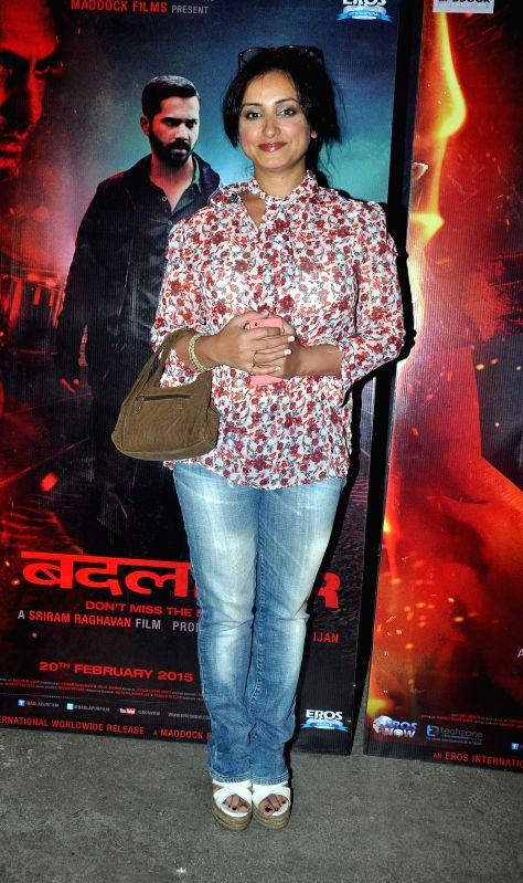 Divya Dutta during the special screening of the movie Badlapur in Mumbai on 18th Feb, 2015.