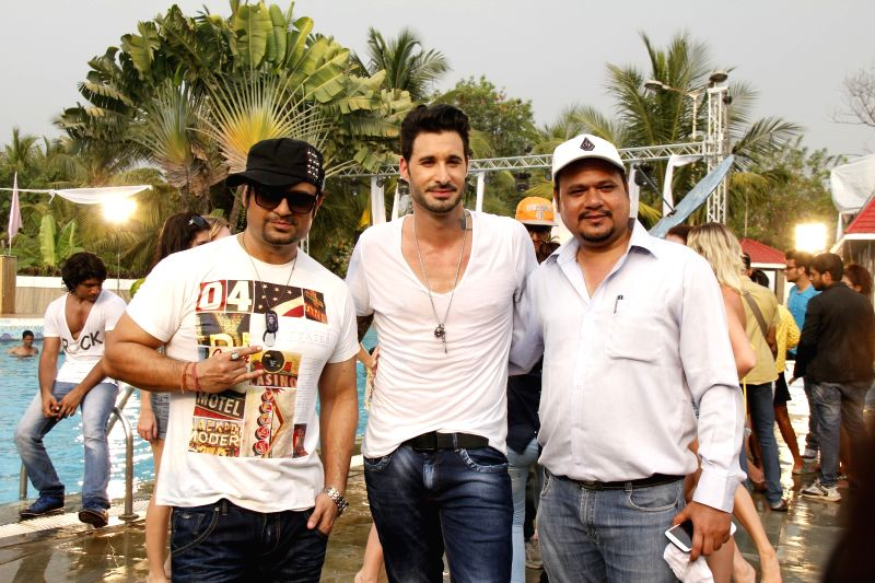 Dj Sheizwood, Sunny Leone's husband Daniel Weber, Dinesh Tiwari (Director) during the press conference of film Dangerous Husn in Mumbai on March 27, 2015.