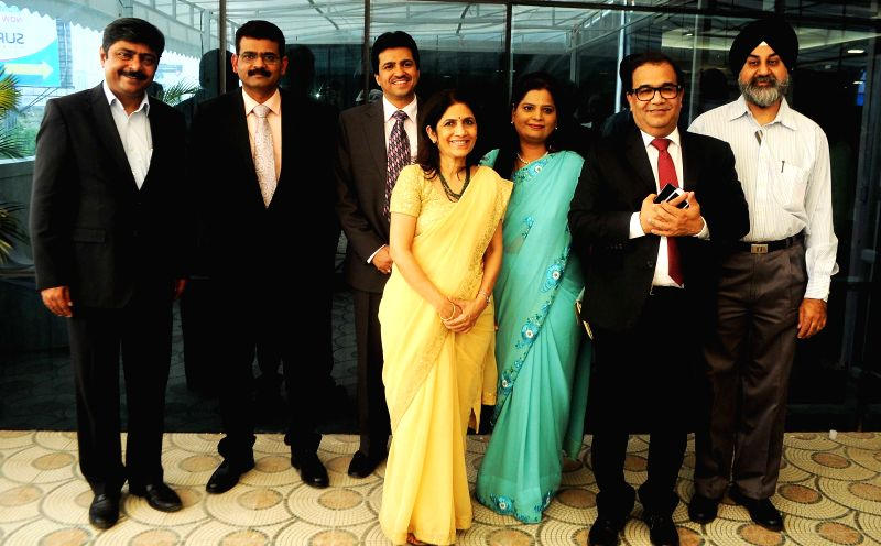 Dr. Bhupendra Avasthi, Dr. Sachin and other doctors posing for the media before the 'Surya Mother & Child Care Hospital launch at Wakad in Pune on 5th April 2015.
