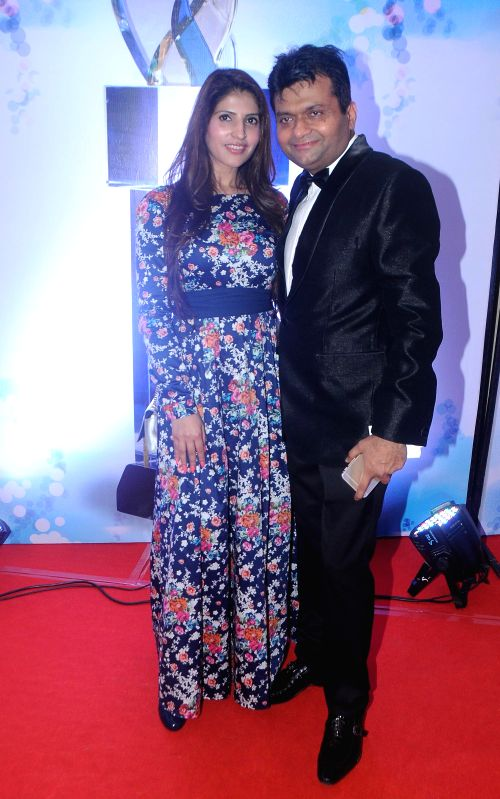 Dr. Ruby Tandon with Aneel Murarka during the `Shoorveer Awards` in Mumbai on March 15, 2015.