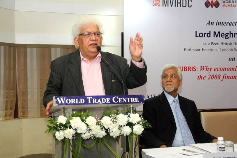 Eminent economist and Indian-British politician Lord Meghnad Desai addresses during the launch of the `Meghnad Desai Academy of Economics` in Mumbai, on March 17, 2015. - Meghnad Desai Academy