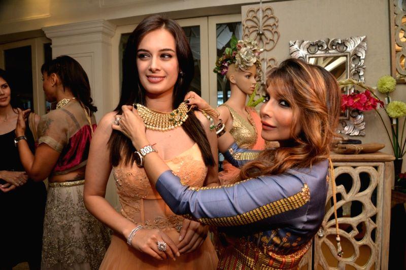 Falguni Peacock Evelyn Sharma during the media preview for Bridal Asia show hosted by Divya & Dhruv Gurwara with fashion designers Shane & Falguni Peacock in Mumbai on April 1, 2015.