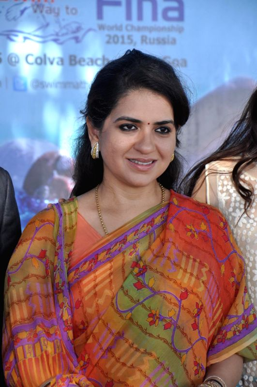 Fashion designer and politician Shaina NC at Swimmathon 2015 press conference in Mumbai on Feb 17, 2015. (Photo : IANS)